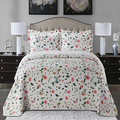 Cozy Printed Floral Fashion Polyester 3 layer Blanket Wholesale Manufacturer
