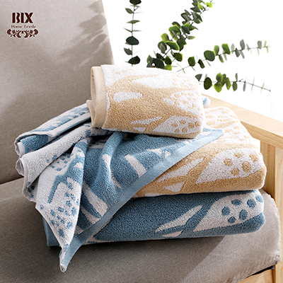 Cotton Jacquard Hand Face Bath Towel OEM ODM Natural Plant Design