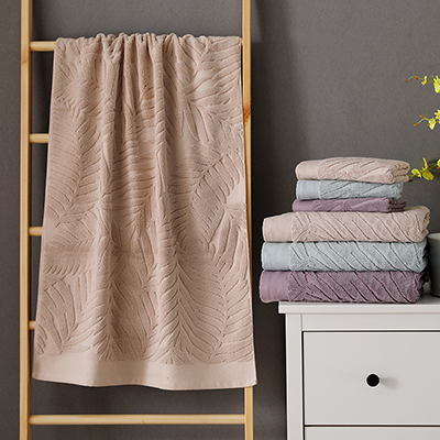 Custom Solid Cotton Jacquard Towel Big Leaves Pattern