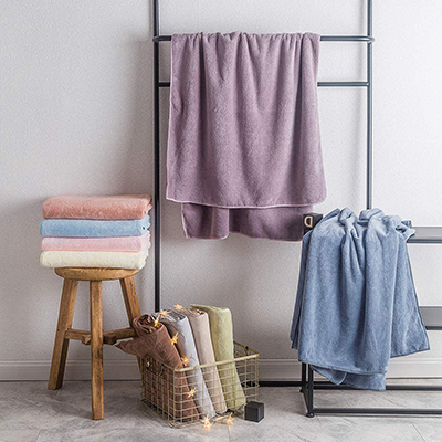 Delicate Solid Color Pure Microfiber Series Towel Set Strong Absorption