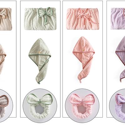 Manufacturer cheap mircofiber beauty hair salon robe, hair band, drying cap set