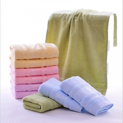 Warm Color Custom Logo Bamboo Anti Bacteria Bath Towel Set