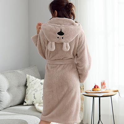 Luxury Warm Solid Color Super Soft Coral Fleece Bathrobe for Women
