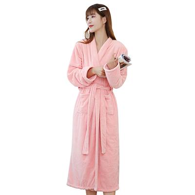 Winter Luxury Warm Long Coral Fleece Bathrobe Women Thick Night Robe