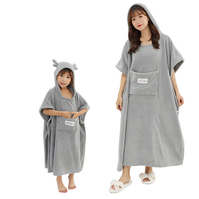 Wholesale Custom High Quality Home Parent-Child Family Love Microfiber Bathrobe