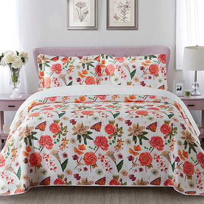 High quality microfiber colorful flower digital printing quilt bedspread set